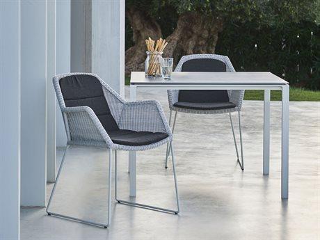 Cane Line Outdoor Pure Aluminum Ceramic Wicker Dining Set PatioLiving
