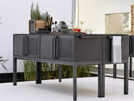 Cane Line Outdoor Fossil Black / Lava Grey 78'' Wide Aluminum Rectangular Console Table