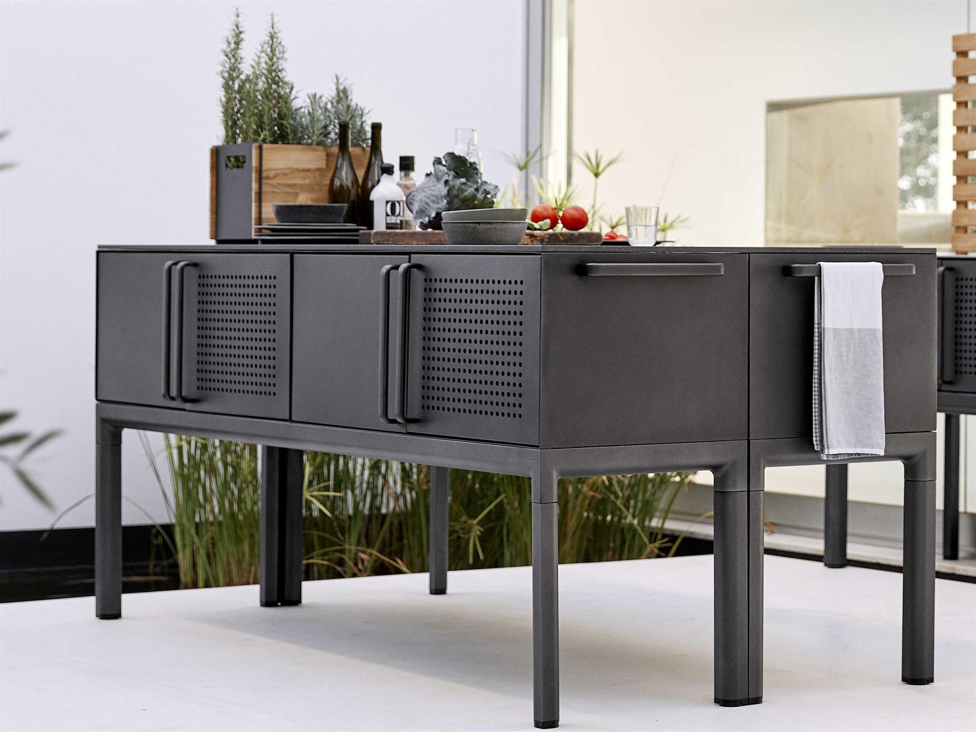 Picture of: Cane Line Outdoor Fossil Black Lava Grey 78 Wide Aluminum Rectangular Console Table Cnop091cobcno3550al