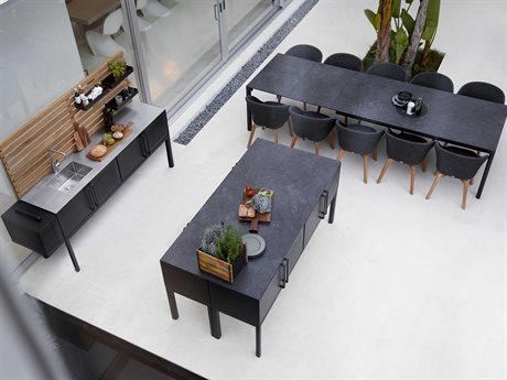 Cane Line Outdoor Aluminum Ceramic Steel Teak Wicker Dining Set