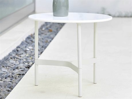 Cane Line Outdoor Twist White 15'' Wide Aluminum Round End Table PatioLiving
