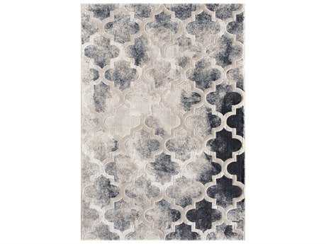 Central Oriental Oracle Moroccan Charm Rectangular Blue & Taupe Area Rug