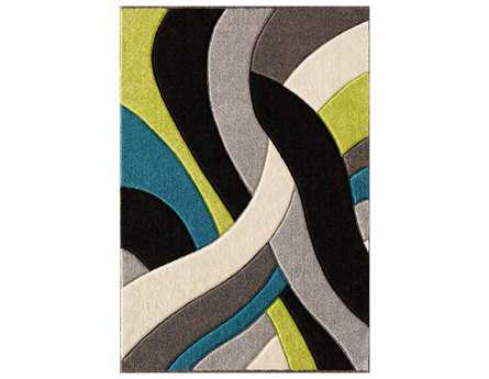 Central Oriental Alpha Tangles Rectangular Lime Area Rug