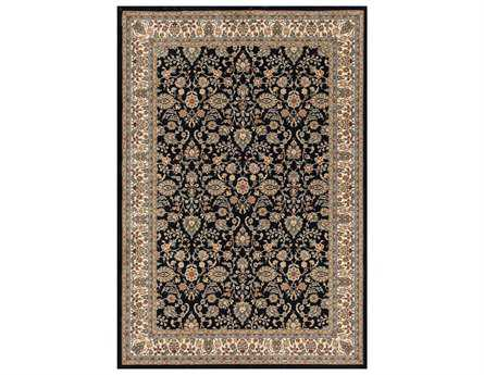 Central Oriental Royal Emperor Rectangular Navy Area Rug