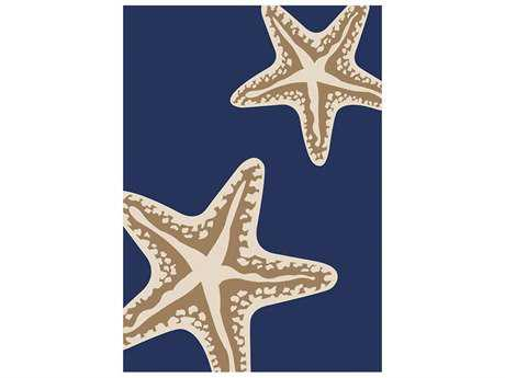 Central Oriental Tributary Sea Star Duo Rectangular Navy & Ivory Area Rug
