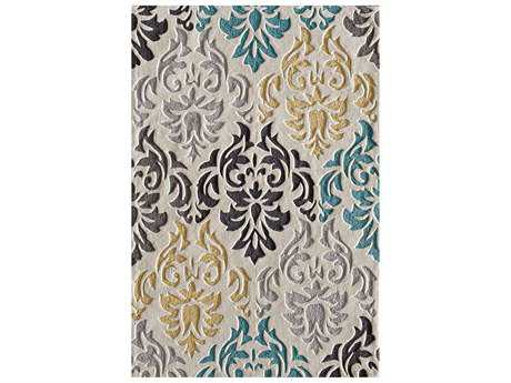 central oriental insight lamoni rectangular gray blue u0026 yellow area rug