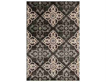 Central Oriental Paris Teal Paulette Rectangular Charcoal & Teal Area Rug