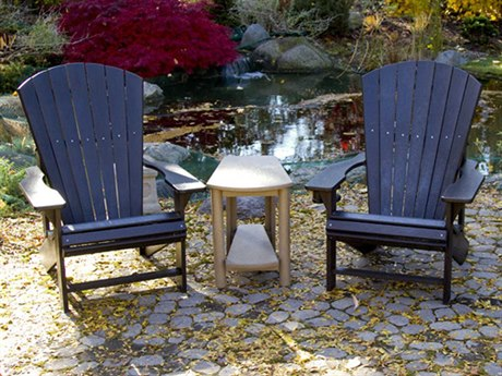 C.R. Plastic Generation Adirondack Lounge Set With Addy Side Table CRADDYSET3