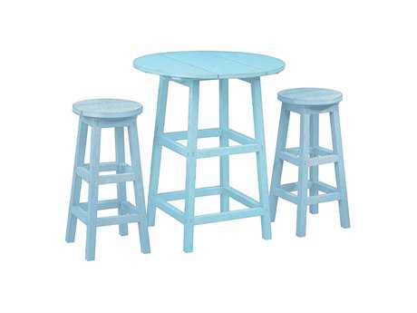 C.R. Plastic Generation Recycled Plastic 32 Round Pub Height Table with Legs and 2 Bar Stools