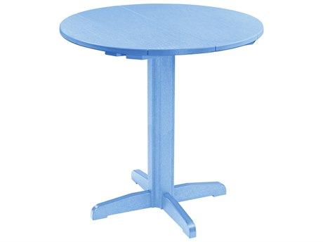 C.R. Plastic Generation Recycled Plastic 40'' Wide Round Pedestal Bar Table