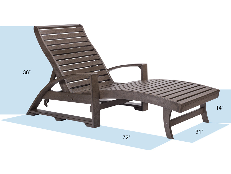 C R Plastic St Tropez Chaise Lounge with wheels