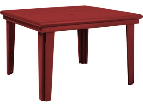 C.R. Plastic Generation Recycled Plastic 47'' Wide Square Dining Table with Umbrella Hole