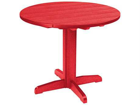 C.R. Plastic Generation Recycled Plastic 37 Round Dining Pedestal Table