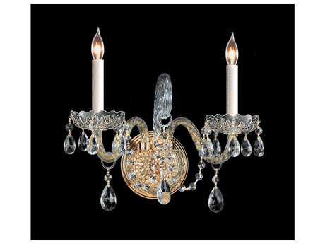 Crystorama Traditional Crystal Polished Brass Two-Light Wall Sconce