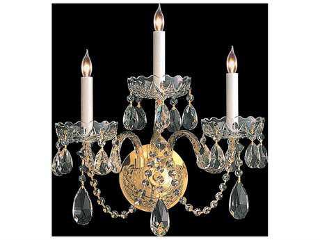 Crystorama Traditional Crystal Polished Brass Three-Light Vanity Light