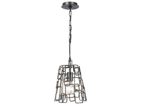 Crystorama Lattice Raw Steel Semi-Flush Mount Light