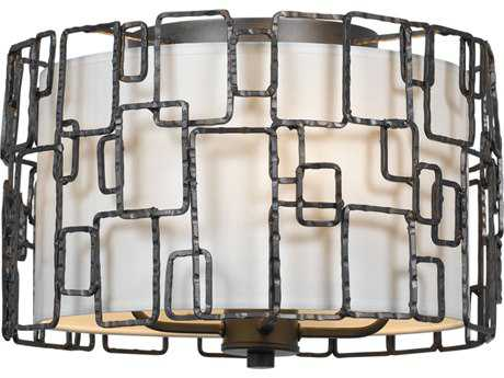 Crystorama Lattice Raw Steel Four-Light Flush Mount Light