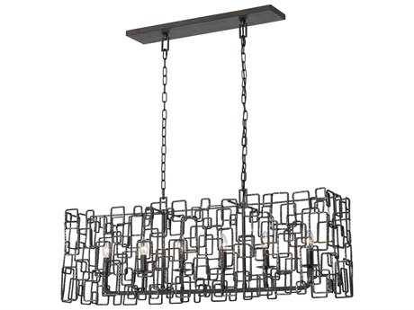 Crystorama Lattice Raw Steel Six-Light 9.5'' Wide Island Ceiling Light