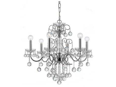 Crystorama Imperial Polished Chrome Six-Light 24'' Wide Chandelier