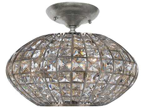 Crystorama Solstice Antique Silver Three-Light Semi-Flush Mount Light