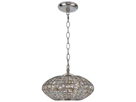 Crystorama Solstice Antique Silver Three-Light 12'' Wide Pendant Light