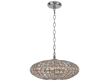 Crystorama Solstice Antique Silver Five-Light 16'' Wide Pendant Light