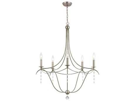 Crystorama Metro Antique Silver Five-Light 27'' Wide Chandelier