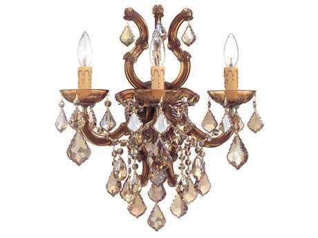 Crystorama Maria Theresa Antique Brass Three-Light Vanity Light