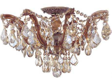 Crystorama Maria Theresa Antique Brass Five-Light Semi-Flush Mount Light