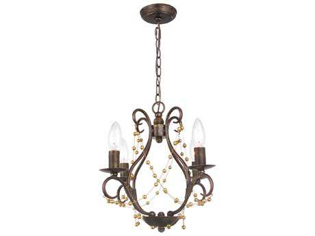 Crystorama Angelina English Bronze Four-Light Pendant Light