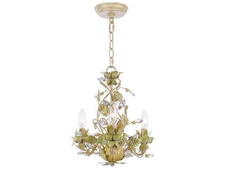 Crystorama Josie Champagne Green Tea Three-Light 13'' Wide Mini Chandelier