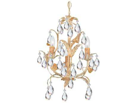 Crystorama Athena Champagne Three-Light 13'' Wide Mini Chandelier