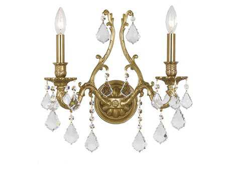 Crystorama Yorkshire Aged Brass Two-Light Wall Sconce