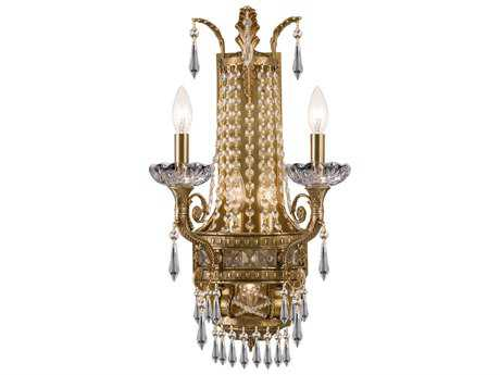Crystorama Cast Brass Wall Mount Aged Brass Two-Light Wall Sconce