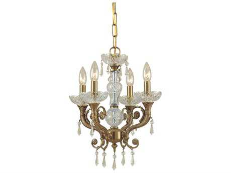 Crystorama Regal Aged Brass Four-Light 14'' Wide Mini Chandelier