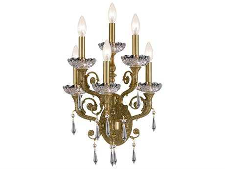 Crystorama Cast Brass Wall Mount Aged Brass Six-Light Wall Sconce