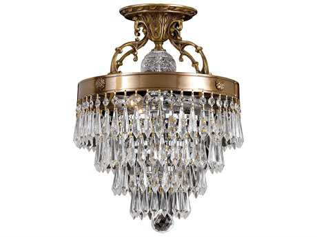 Crystorama Regal Aged Brass Three-Light Semi-Flush Mount Light