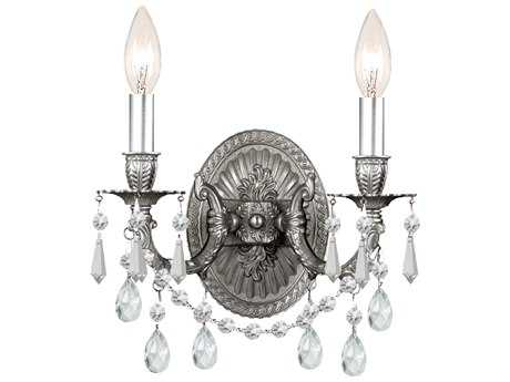 Crystorama Mirabella Pewter Two-Light Wall Sconce