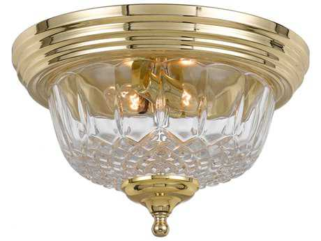 Crystorama Ceiling Mount Polished Brass Two-Light Flush Mount Light