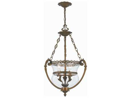 Crystorama Pendant Antique Brass Three-Light Pendant Light