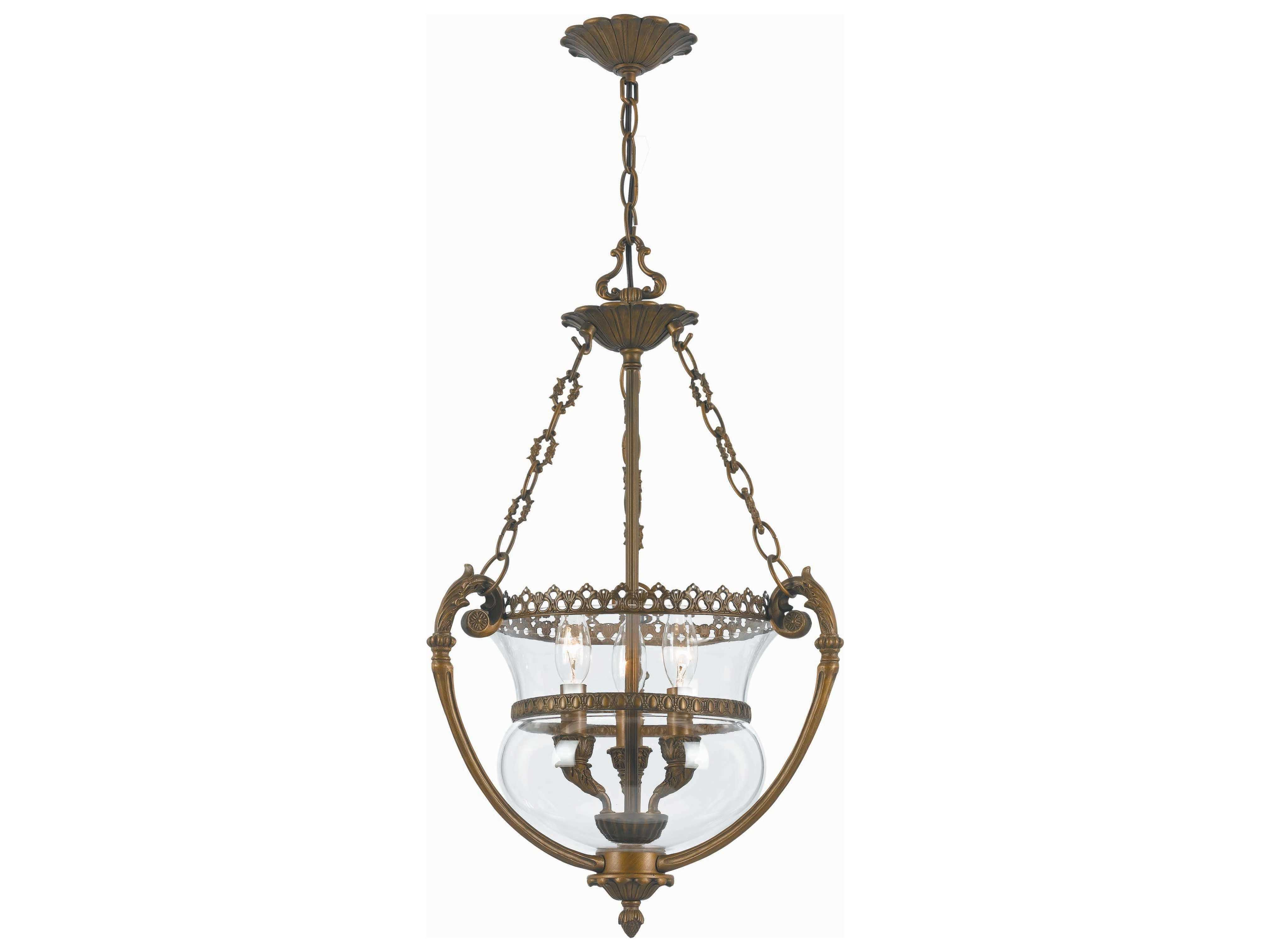 Crystorama Pendant Antique Brass Three Light Pendant Light