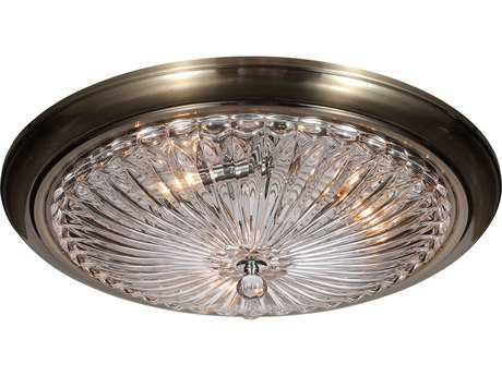 Crystorama Celina Antique Brass Three-Light 20'' Wide Flush Mount Ceiling Light with Glass Shade