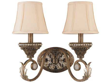 Crystorama Roosevelt Weathered Patina Two-Light Wall Sconce