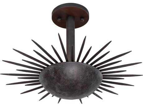 Crystorama Galileo Forged Bronze Two-Light Semi-Flush Mount Light