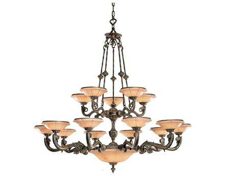 Crystorama Natural Alabaster Bronze 15-Light 56'' Wide Grand Chandelier