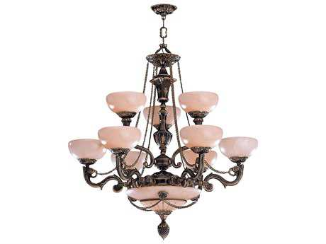 Crystorama Natural Alabaster Nine-Light 34'' Wide Grand Chandelier