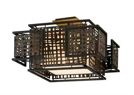 Corbett Lighting Shoji Two-Light Bonsai Bronze Semi-Flush Mount Light