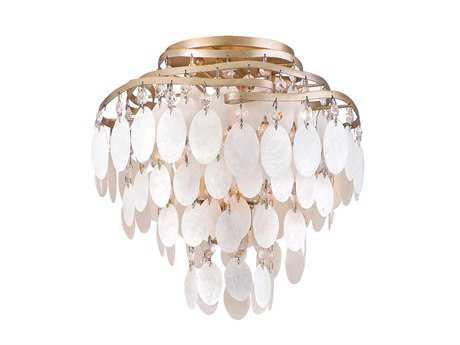 Corbett Lighting Dolce Three-Light Champagne Leaf Semi-Flush Mount Light