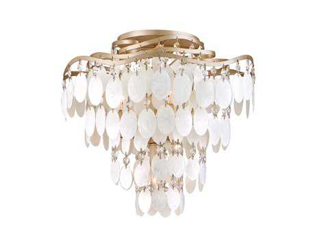 Corbett Lighting Dolce Four-Light Champagne Leaf Semi-Flush Mount Light