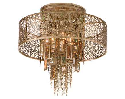 Corbett Lighting Riviera Four-Light Riviera Bronze Semi-Flush Mount Light